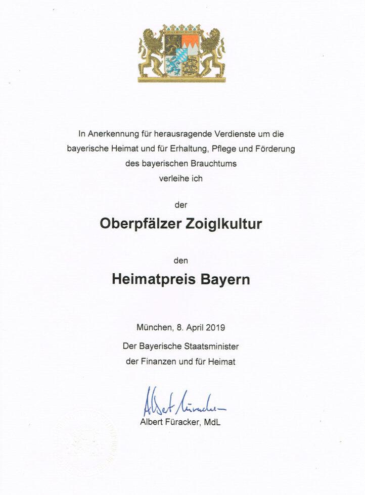 Urkunde Heimatpreis Bayern 2019